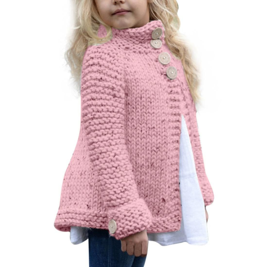 Anxinke Toddlers Little Kids Warm Knitted Buttons Sweater Coat