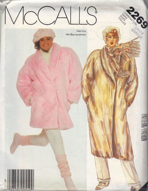 Mccalls 80s Sewing Pattern Winter Coat Fake Fur Jacket Shawl Collar