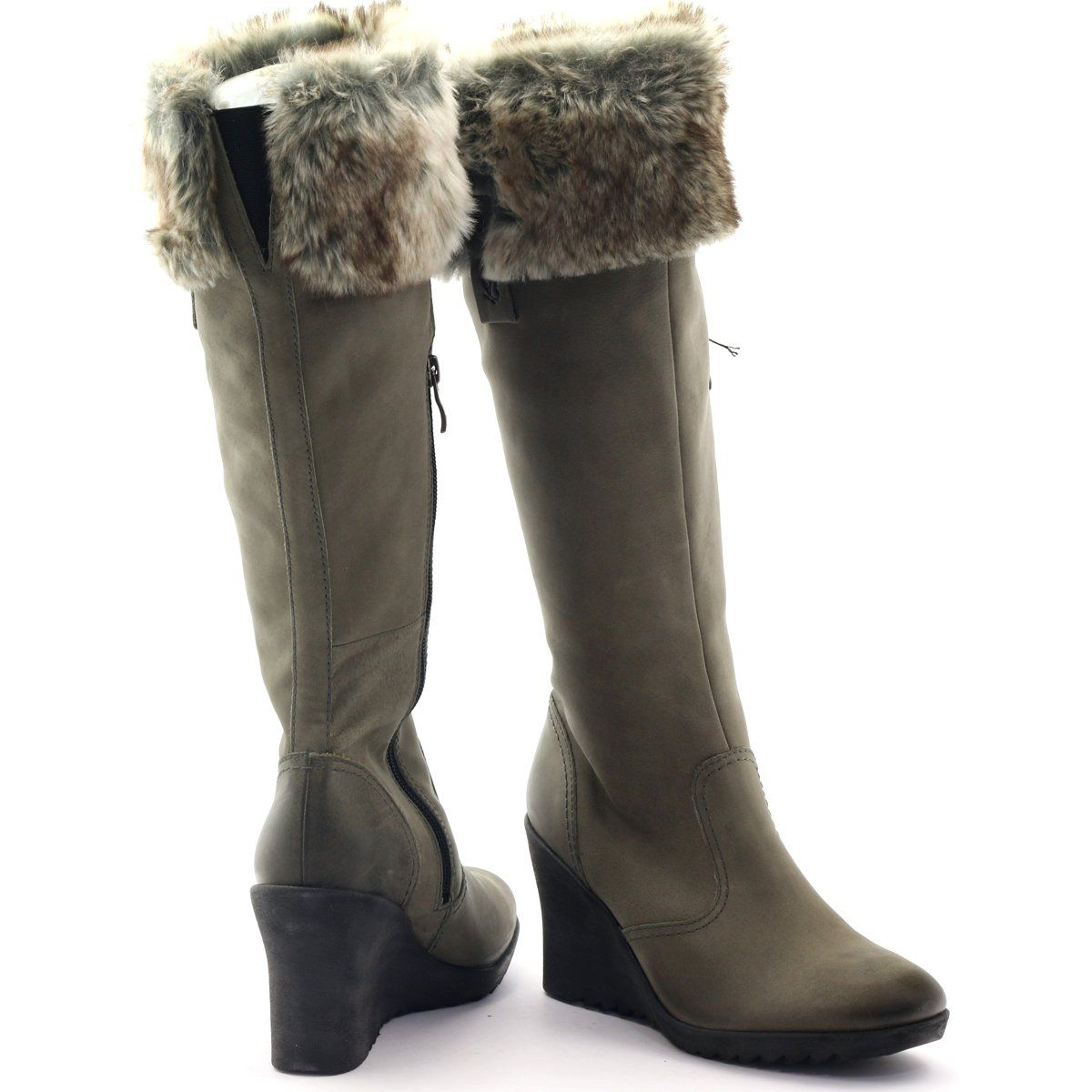 Caprice Kozaki Buty Damskie Skorzane 25607 Szare Boots Over Knee Boot Knee Boots