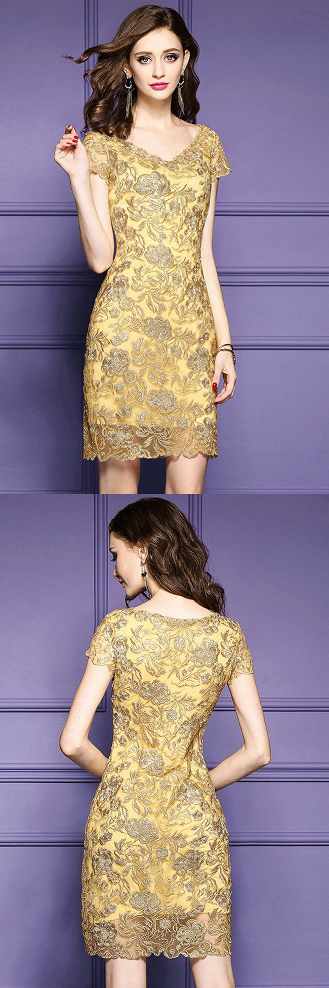 Luxury dresses for wedding guest  Cocktail Dresses Luxury Gold Embroidery Sheath Party Dress For