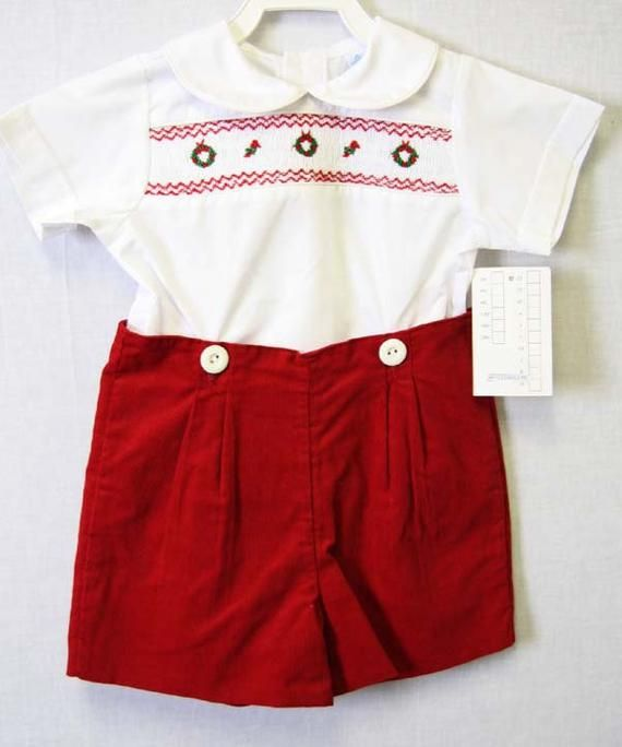 Toddler Christmas outfit is a perfect baby boy clothes item for baby first  Christmas. Smocked baby boy clothing are a classic Christmas romper. - Baby Boy Christmas Outfi, Smocked Baby Clot, First Christmas Outfit