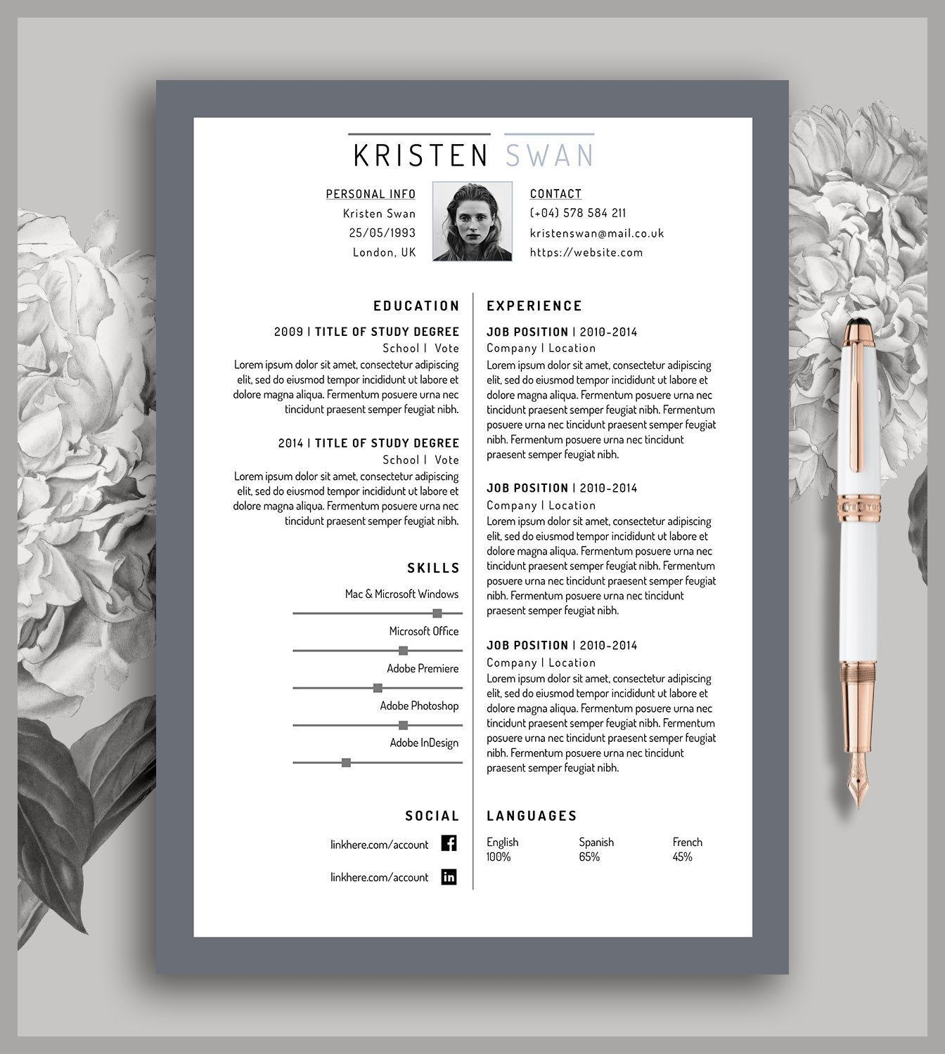 Modello Curriculum 2 Pagine Lettera Di Presentazione Cv Stampabile Ms Word E Pages Digital Download Kristen Lorem Ipsum I Shop London Uk