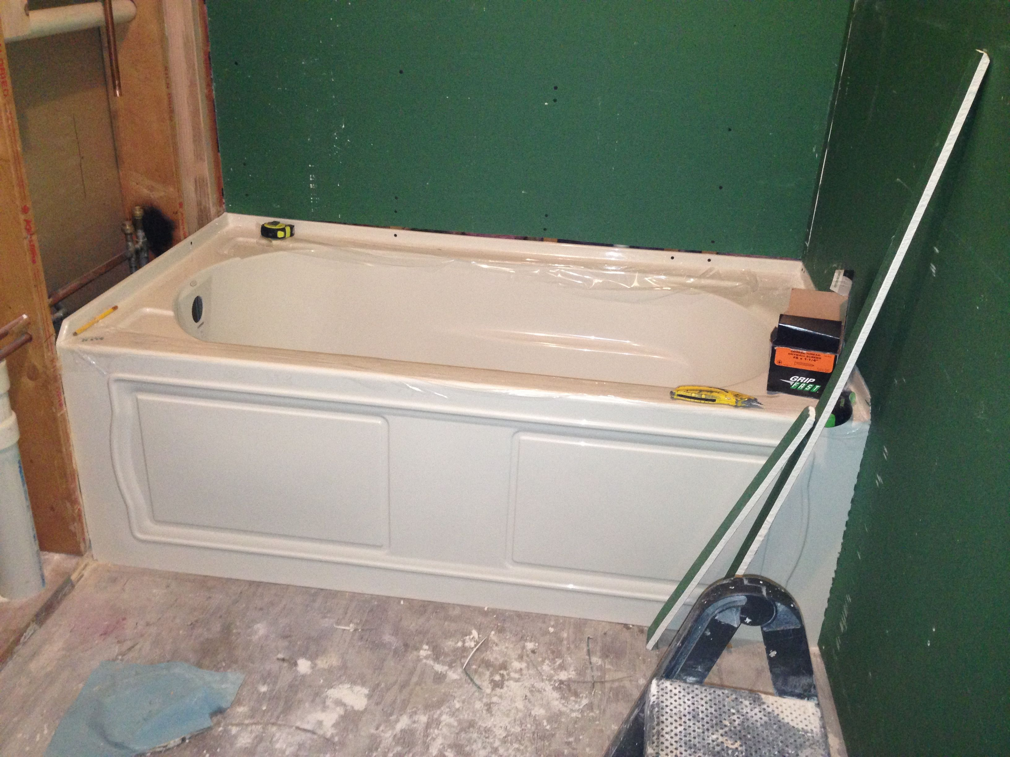 The tub is in! Kohler Devonshire in biscuit | My bathroom remodel ...