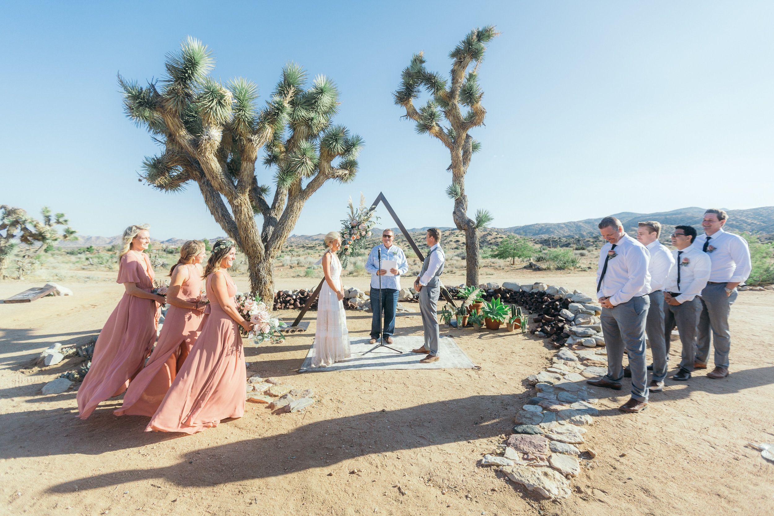 Bohemian Wedding Triangle Ceremony Arch Joshua Trees King Protea Rimrock Ranch Desert Venue Pioneertown California Art Soul Events
