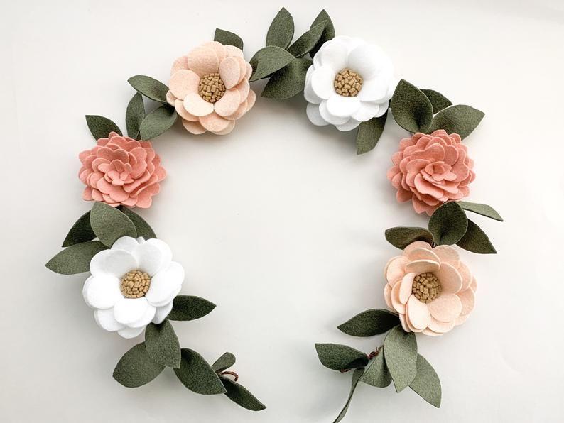 Felt Flower Nursery Decor Garland | Felt Flower Garland | Nursery Decor | Nursery Wall Decor | Custom Floral Garland | Custom Nursery Decor