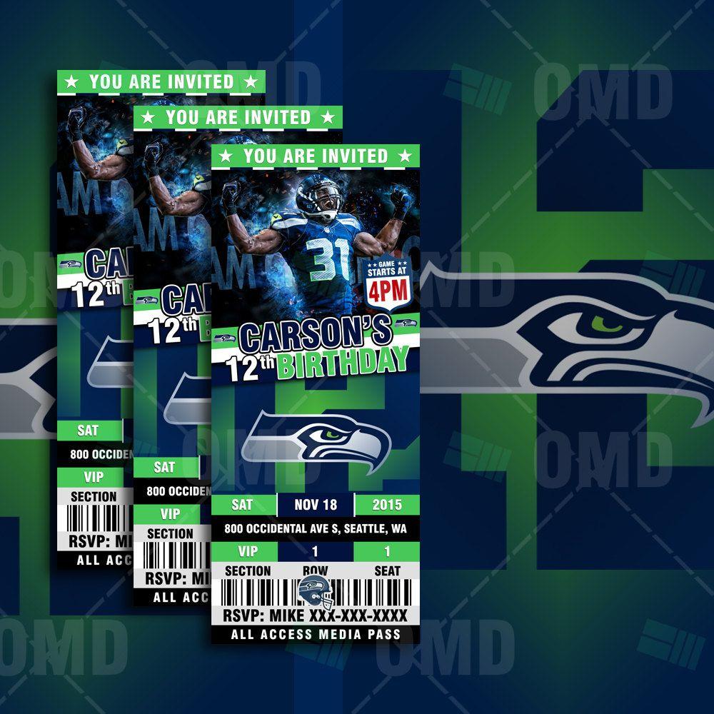 "Seattle Seahawks Schedule: 2.5x6"" Seattle Sports Party Seahawks Invitations"
