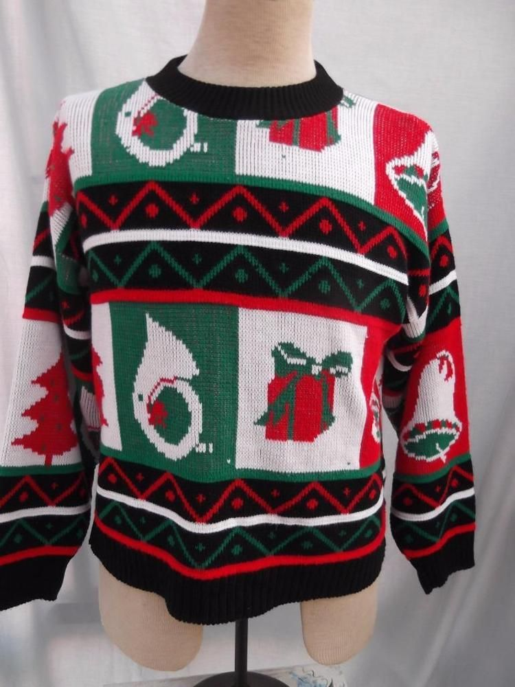 Vintage 1990s Sweater UGLY Christmas Horn Package Wreath Label Is Milestone SZ L