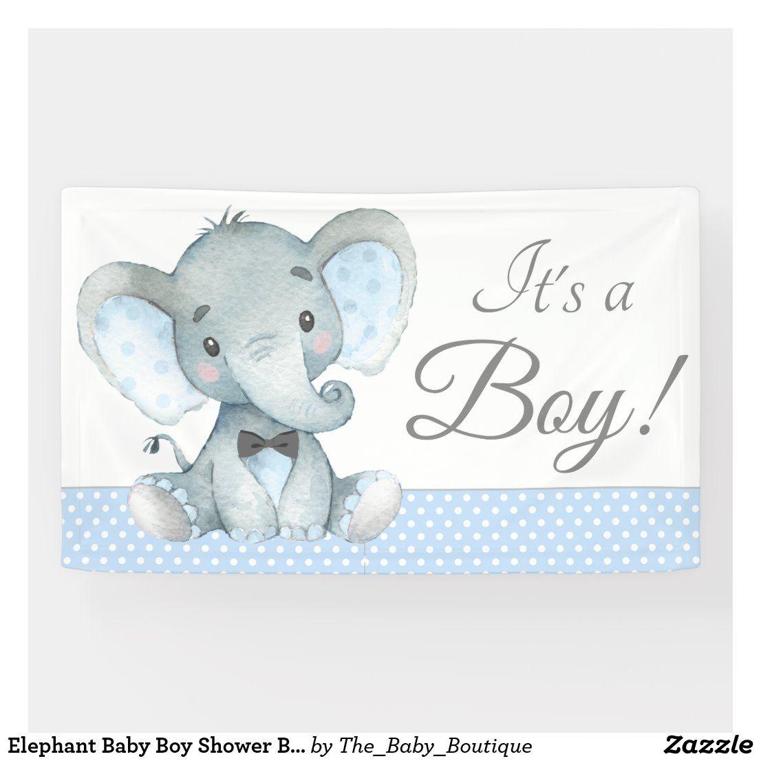 Elephant Baby Boy Shower Banners Zazzle Com In 2020 Elephant Baby Shower Banner Baby Shower Banner Boy Elephant Baby Boy