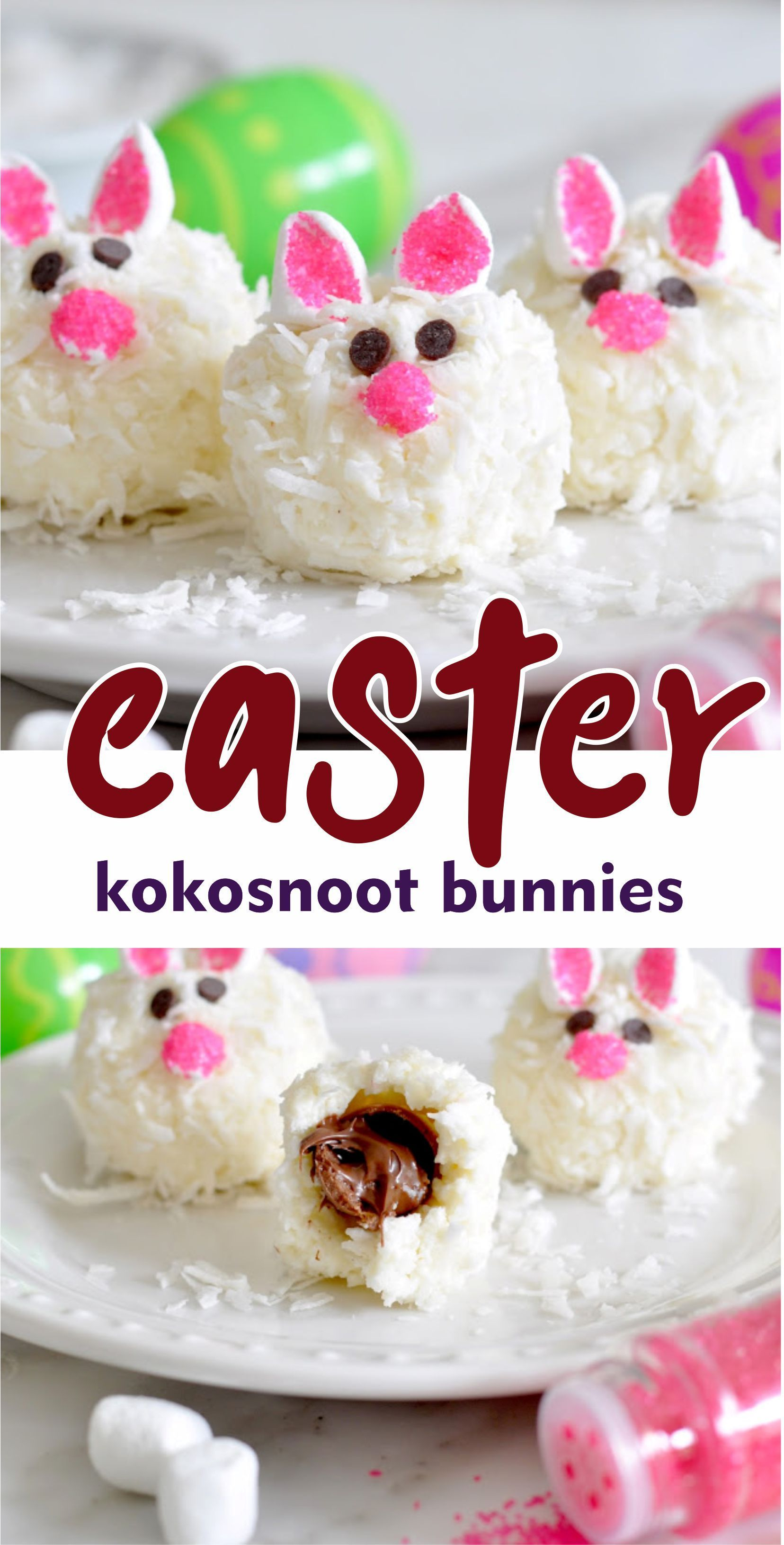 Easter Kokosnoot Bunnies  Unleash your inventiveness amongst these super cute, easy-to-make, no-bake kokosnoot snowball cookies perfectly decorated for jump in addition to Easter   #bunny #coconut #dessert #Easter #backen #backen kuchen #backen ostern #backen rezepte #backen torten #baking #baking cakes #baking desserts #baking recipes #cute baking #easy baking #healthy baking