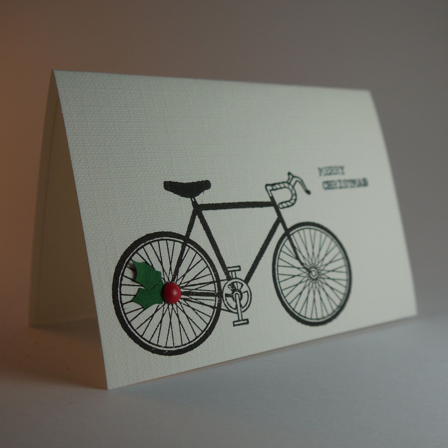 Bicycle Christmas Cards With Holly (Set of 10). £20.00, via Etsy ...