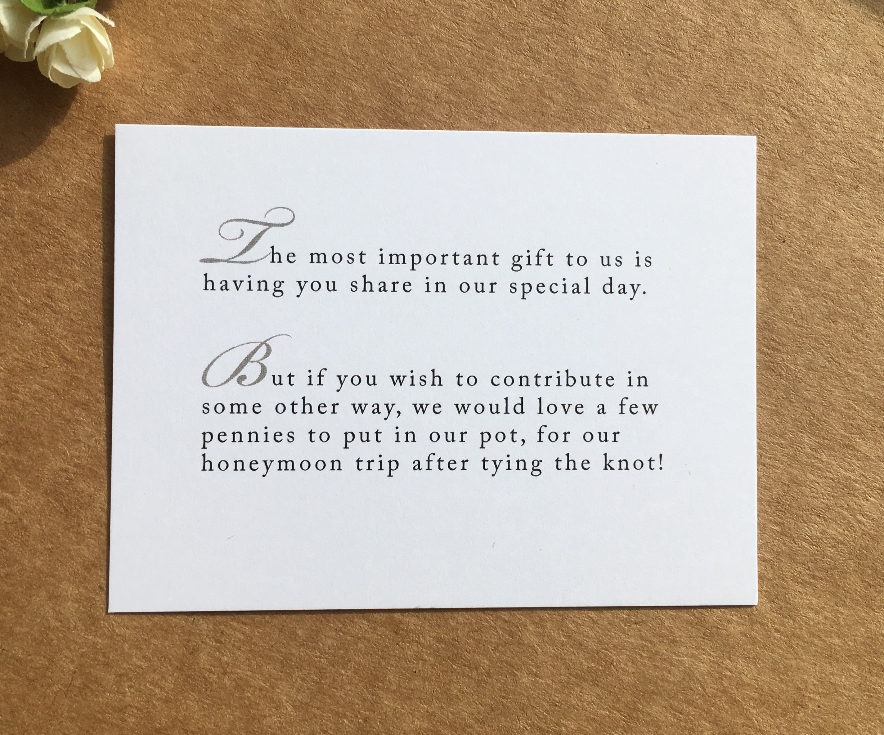 Honeymoon Poem Card Inserts for Invitations | 50th birthday ...