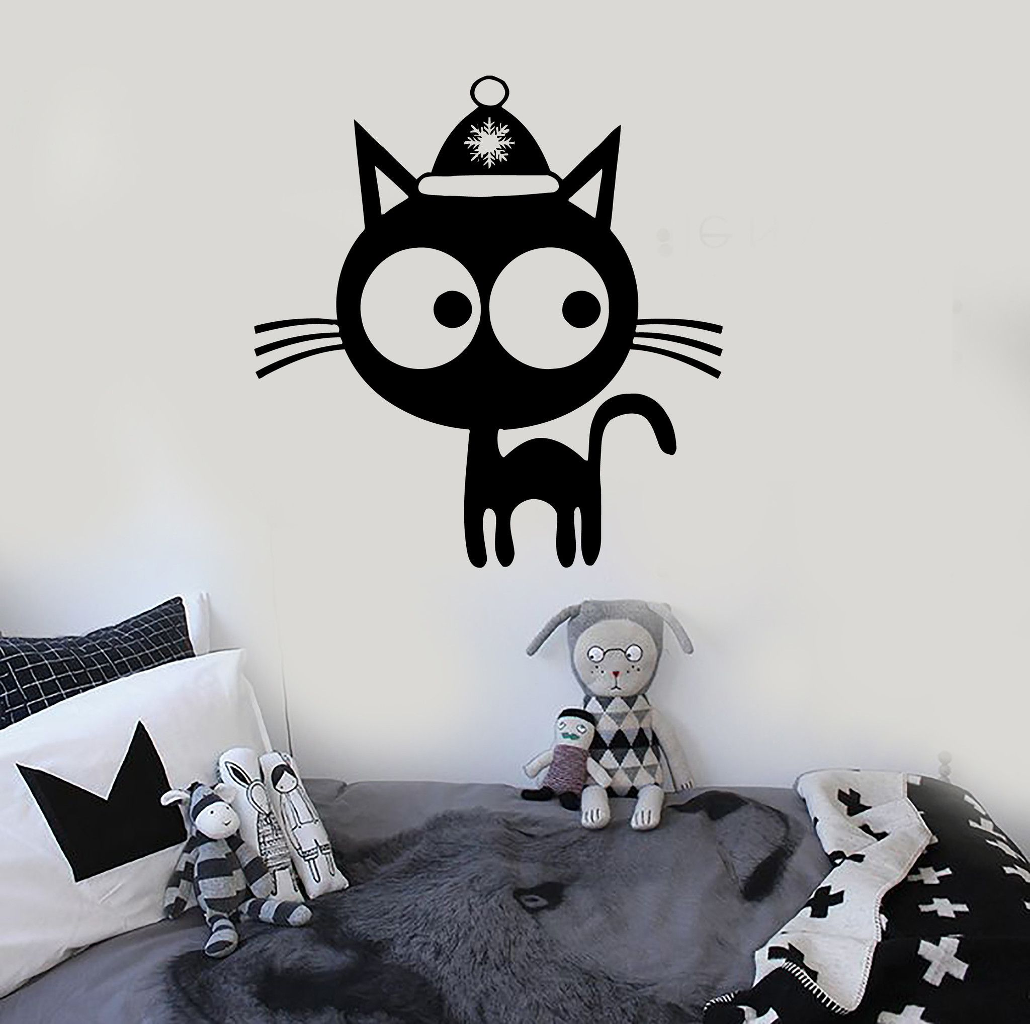 Wall stickers vinyl decal winter kitten new year christmas pet cat