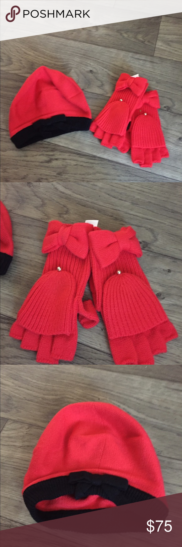 KATE SPADE SOLID BOW GLOVES & CONTRAST BOW BERET knit gloves have a removable top and thumb sections. Hat is contrast beret features kate spade Accessories Hosiery & Socks