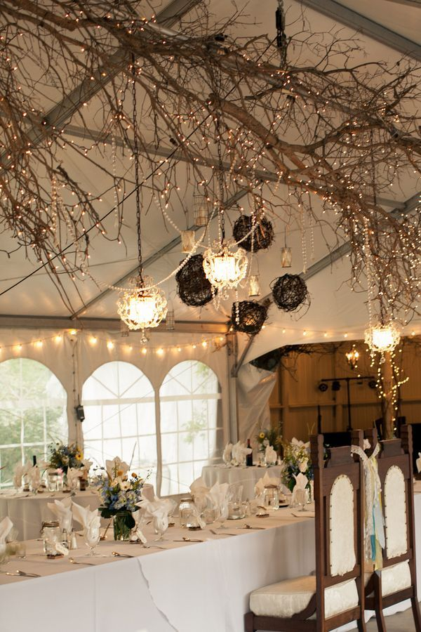 30 chic rustic wedding ideas with tree branches indoor for Indoor marquee decoration