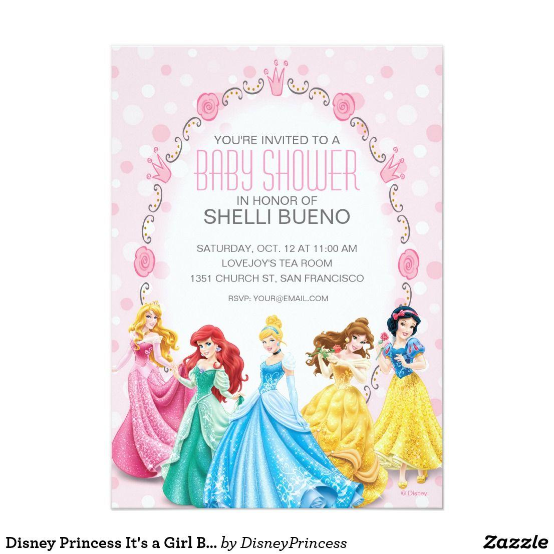 Disney Princess It\'s a Girl Baby Shower Card