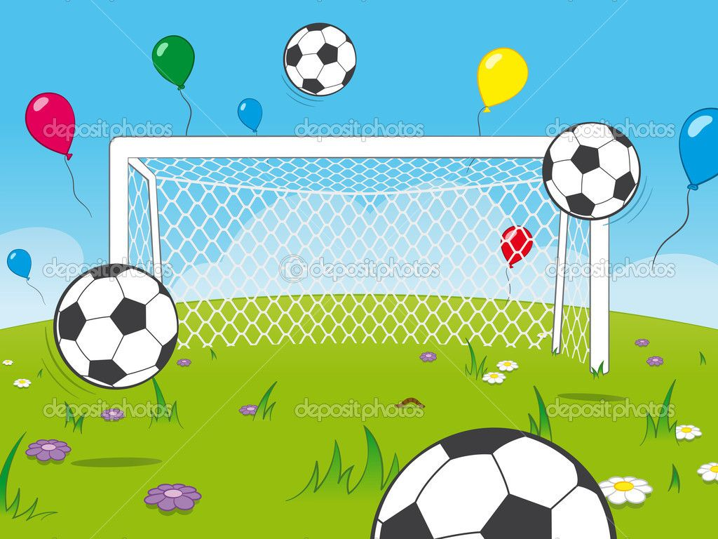 Cartoon Goalposts With Balloons And Soccer Balls In 2020 Soccer Balls Soccer Balloons