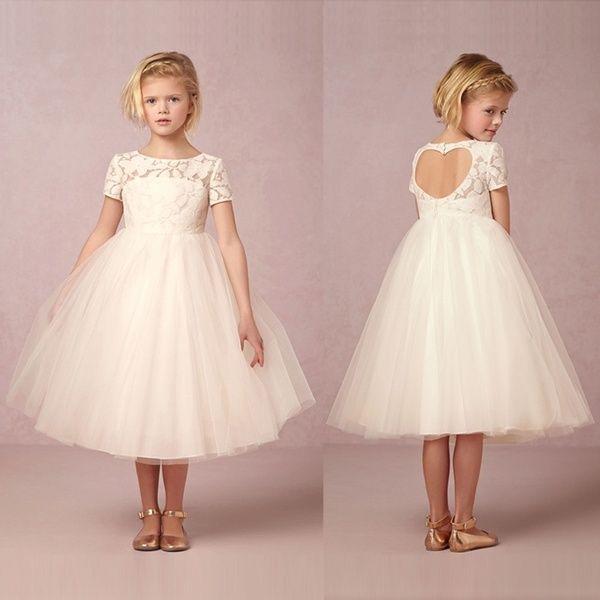 Kids Girls Lace Flower Party Dress Wedding Bridesmaid Princess Gown Formal Dress