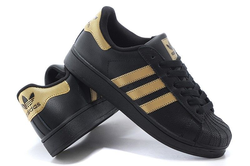 adidas superstar black and golden