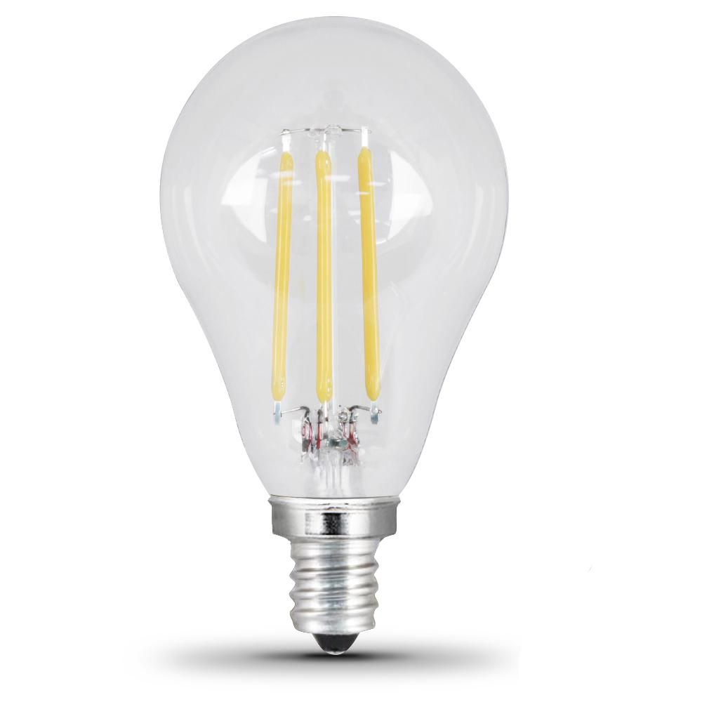 Feit Electric 40W Equivalent Daylight A15 Dimmable Clear Filament LED Candelabra Base Light Bulb (Case of 24)