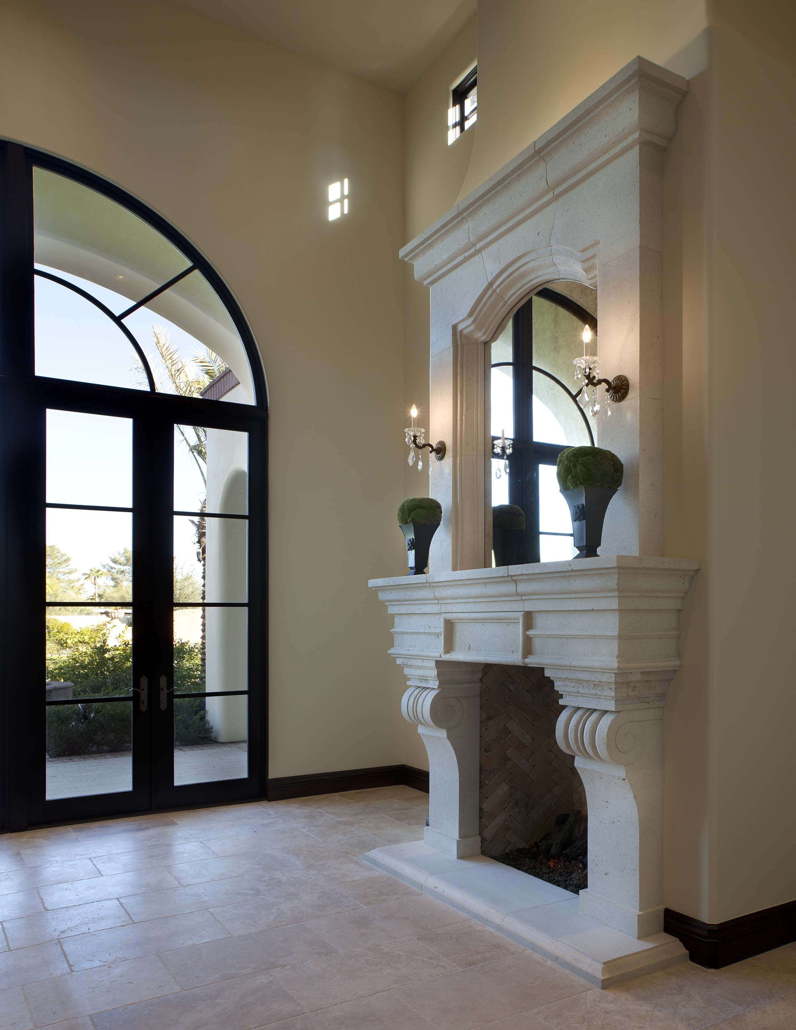 Custom Fireplace Design In A Santa Barbara Style Home In Paradise Valley Az I Plan Llc