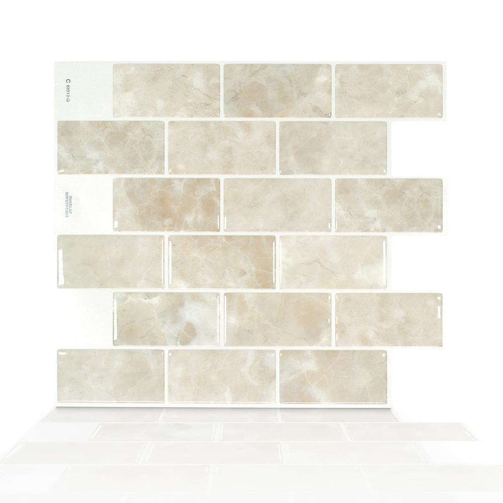 Smart Tiles Subway Sora 10 95 In W X 9 70 In H Beige Peel And Stick Self Adhesive Decorative Mosaic Wall Smart Tiles Stick Tile Backsplash Mosaic Wall Tiles