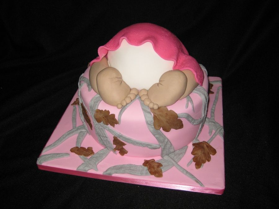 Pink Real Tree Camo Baby Bum The Cake Is A 10 Inch Round And The Baby Bum  Was Made Using The Wilton Ball Pan
