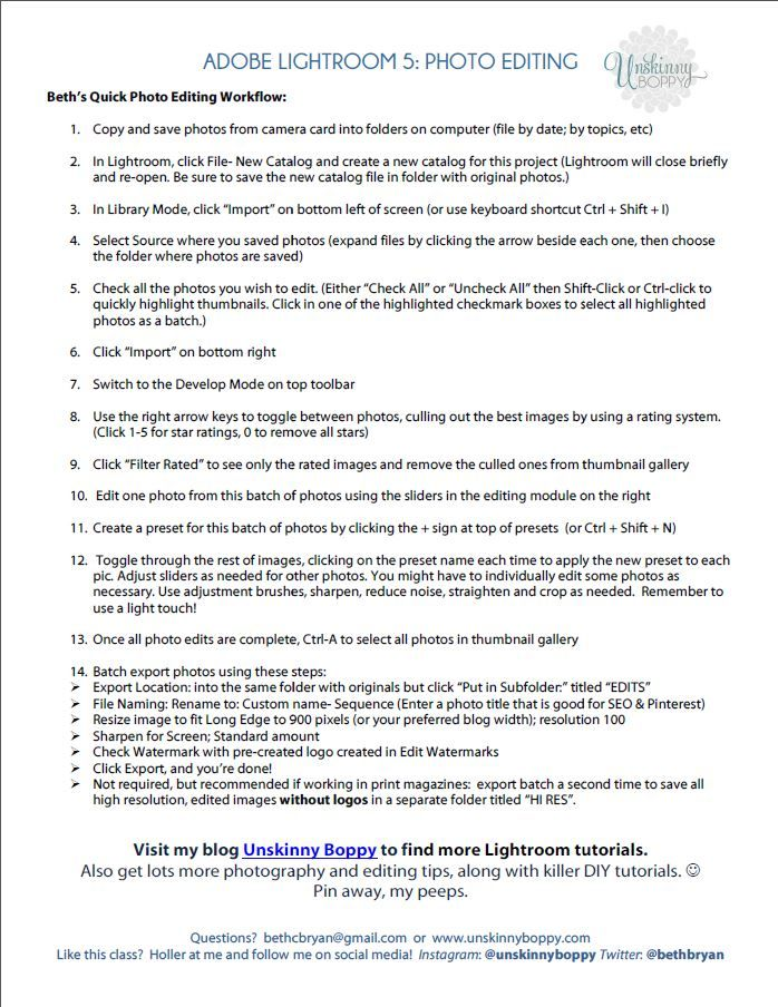 Lightroom Photo Editing Workflow DOWNLOAD FREE PRINTABLE HERE