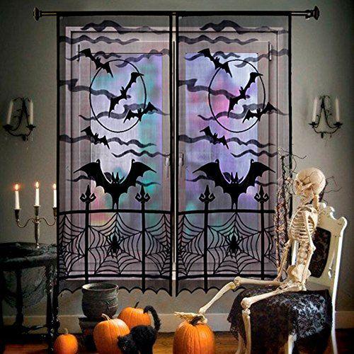 AerWo Black Bats Halloween Lace Window Curtain with 2pcs, 40 by 84 - halloween window decorations