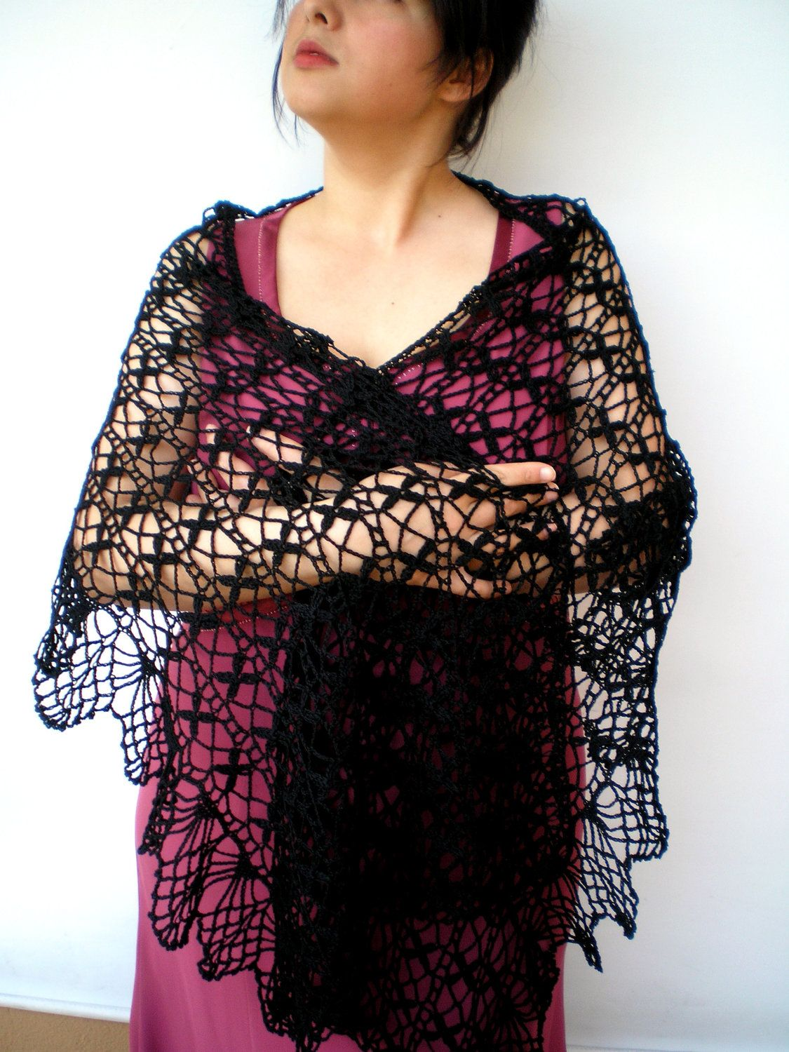 Dark Lady Stole Special Cotton Wrap Scarf Crocheted by NonnaLia