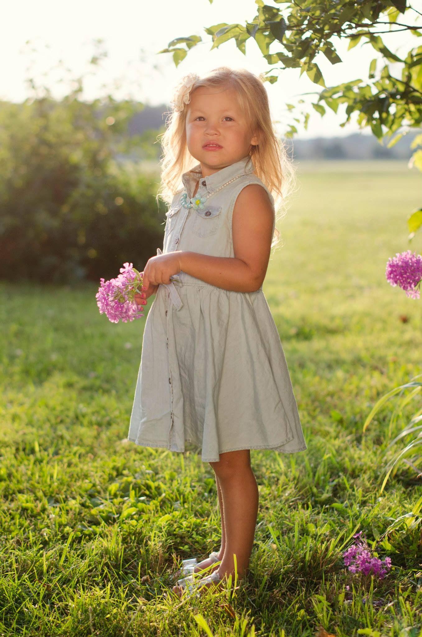 964928dae8 Girl portrait. Toddler. Country. Summer. Outside. Light colors. Denim dress.  Ivory. Sunny. Flowers.  photography  family  Babygirl  girl  toddler   daughter