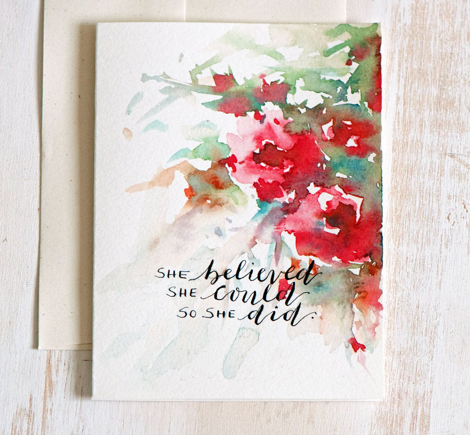 ORIGINAL Greeting Card, Floral Watercolor, Hand Lettered card ...