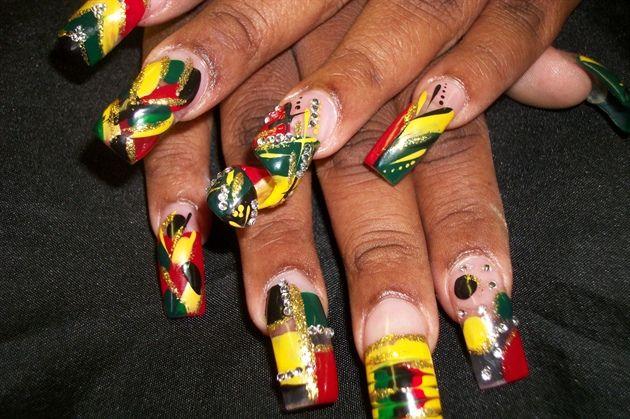 jamaican nail design by aubrey - Nail Art Gallery  nailartgallery.nailsmag.com by Nails Magazine www.nailsmag.com #nailart |  Nails | Pinterest | Nails ... - Jamaican Nail Design By Aubrey - Nail Art Gallery Nailartgallery