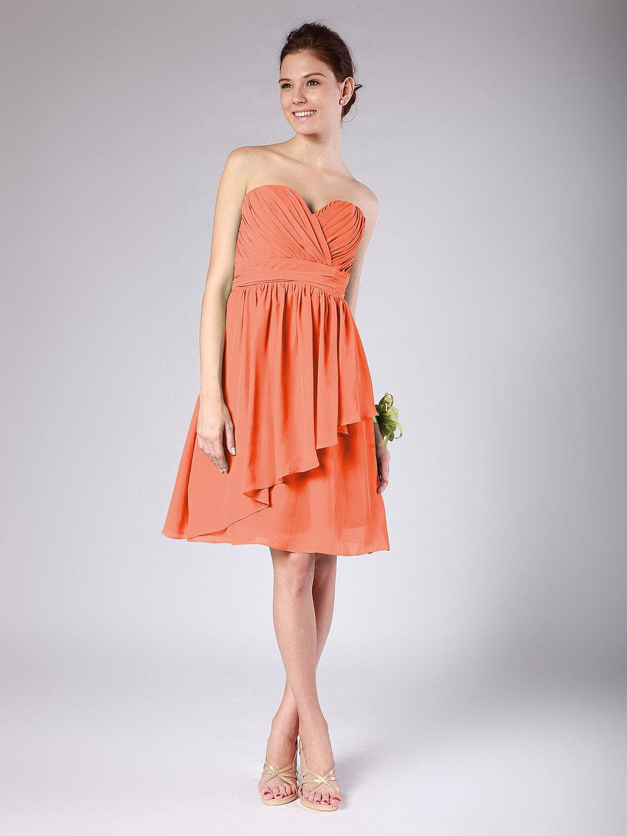 Tiered chiffon dress color coral length knee website