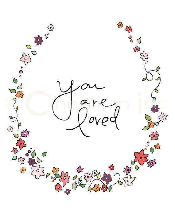 Home Art Print - Nursery Art Print - GIRLS Room Decor -You Are Loved - 8x10