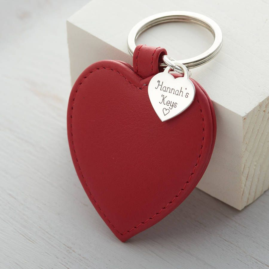 9c48ac11d63 personalised sterling silver heart and leather keyring by hurleyburley    notonthehighstreet.com