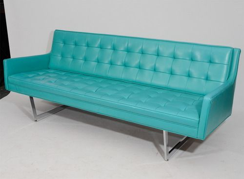 1968 Tufted Vinyl Modern Sofa In Turquoise Design Patrician Colori Turchese