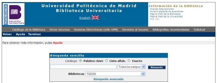 OPAC de e-Library : Catálogo en línea de la UPM