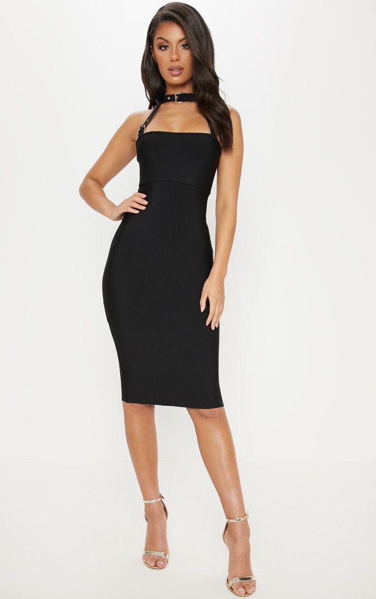 Black Bandage Buckle Strap Midi Dress Girls Night Out Dresses Midi Dress Mid Length Dresses [ 1180 x 740 Pixel ]