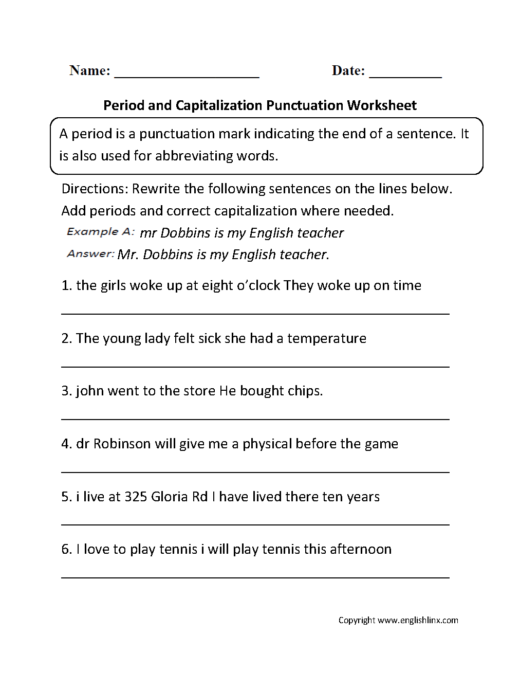Period And Capitalization Worksheet Punctuation Worksheets Sentence Correction Worksheets Capitalization Worksheets