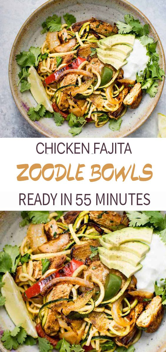 Chicken Fajita Zoodle Bowls #recipeforchickenfajitas