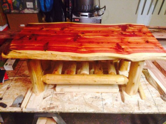 Custom Rustic Live Edge Eastern Red Cedar Coffee Table