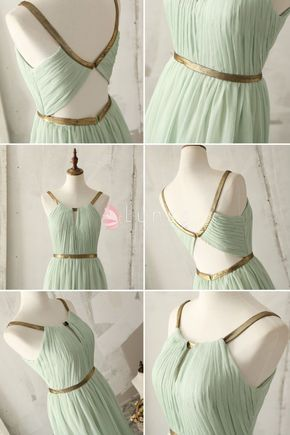 Unique Gold Strap A-line Mint Green Bridesmaid Dress