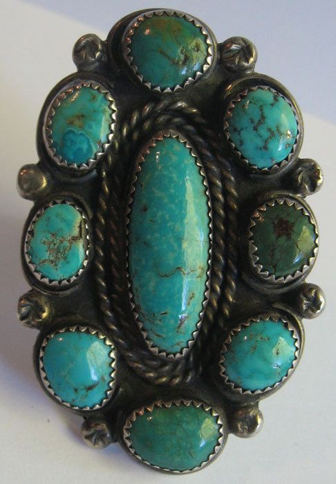HUGE AMAZING VINTAGE NAVAJO INDIAN SILVER MULTI TURQUOISE RING SIZE 12