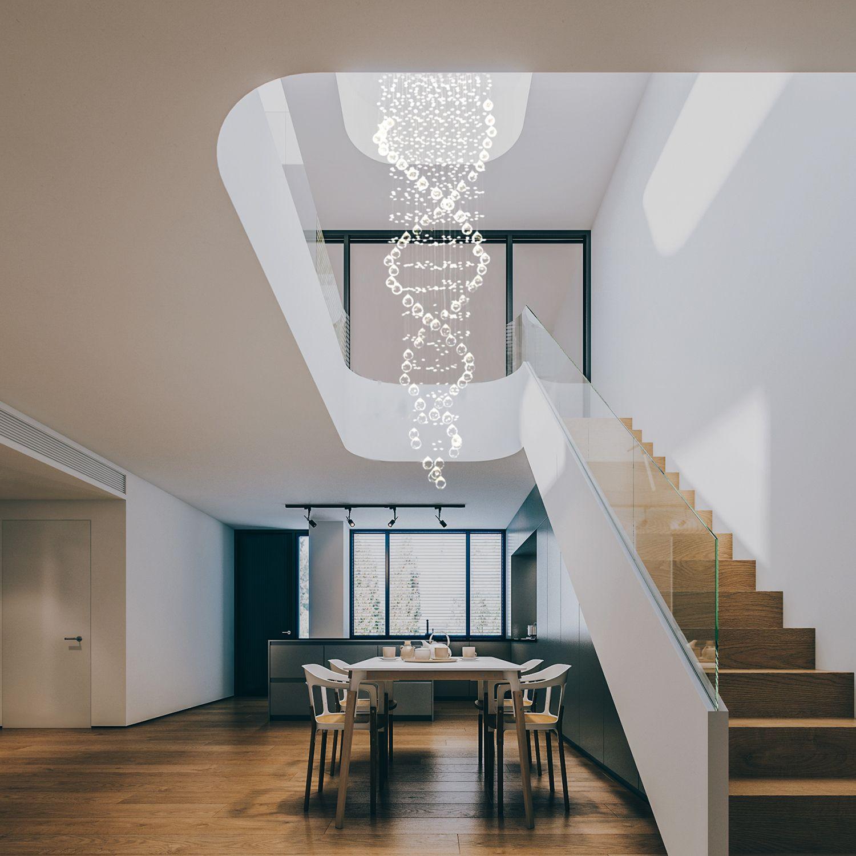 Best Double Spiral Modern Raindrop Chandelier Staircase 400 x 300
