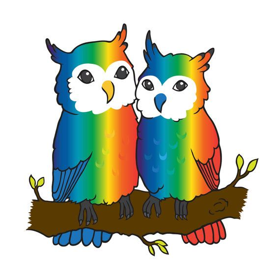 Cute LGBT Pride Owls Giclee Art Print Gay by prideandjoyprints