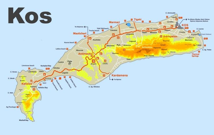 Kos sightseeing map Maps Pinterest Kos and Greece islands