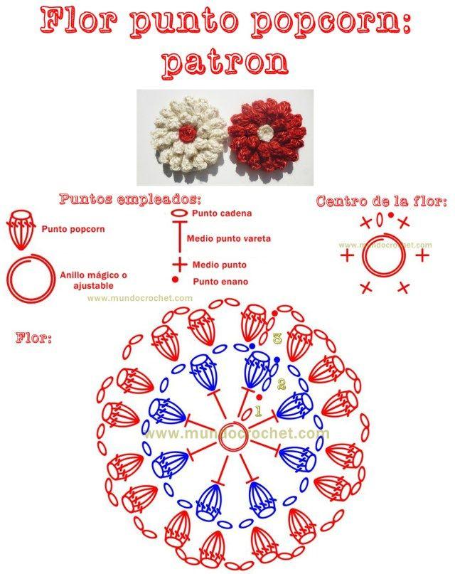 Patron flor en punto popcorn a crochet o ganchillo | CROCHET IDEAS ...
