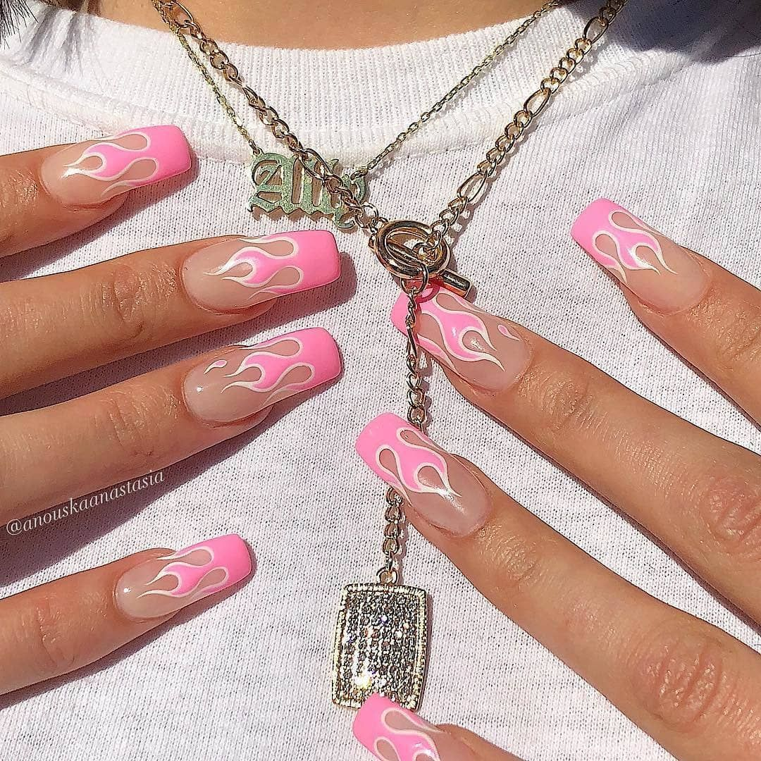 Pink White Flames Square Acrylic Nails Beautystack Hot Girl Nails For A Hot Girl Summer Book With Beautystack Babe Anouska