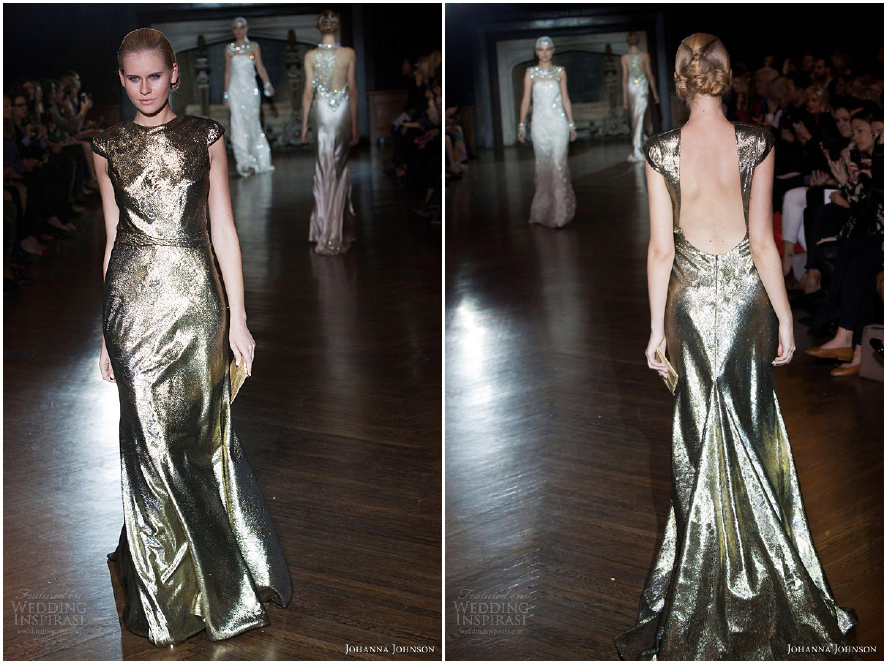 Wedding Inspiration, Metallic Wedding Dresses Johanna Johnson 2014 Muse collection. http://www.pierrecarr.com/blog/2014/06/wedding-inspiration-cfda-fashion-awards-2014/ #PierreCarr #MetallicWeddingDresses