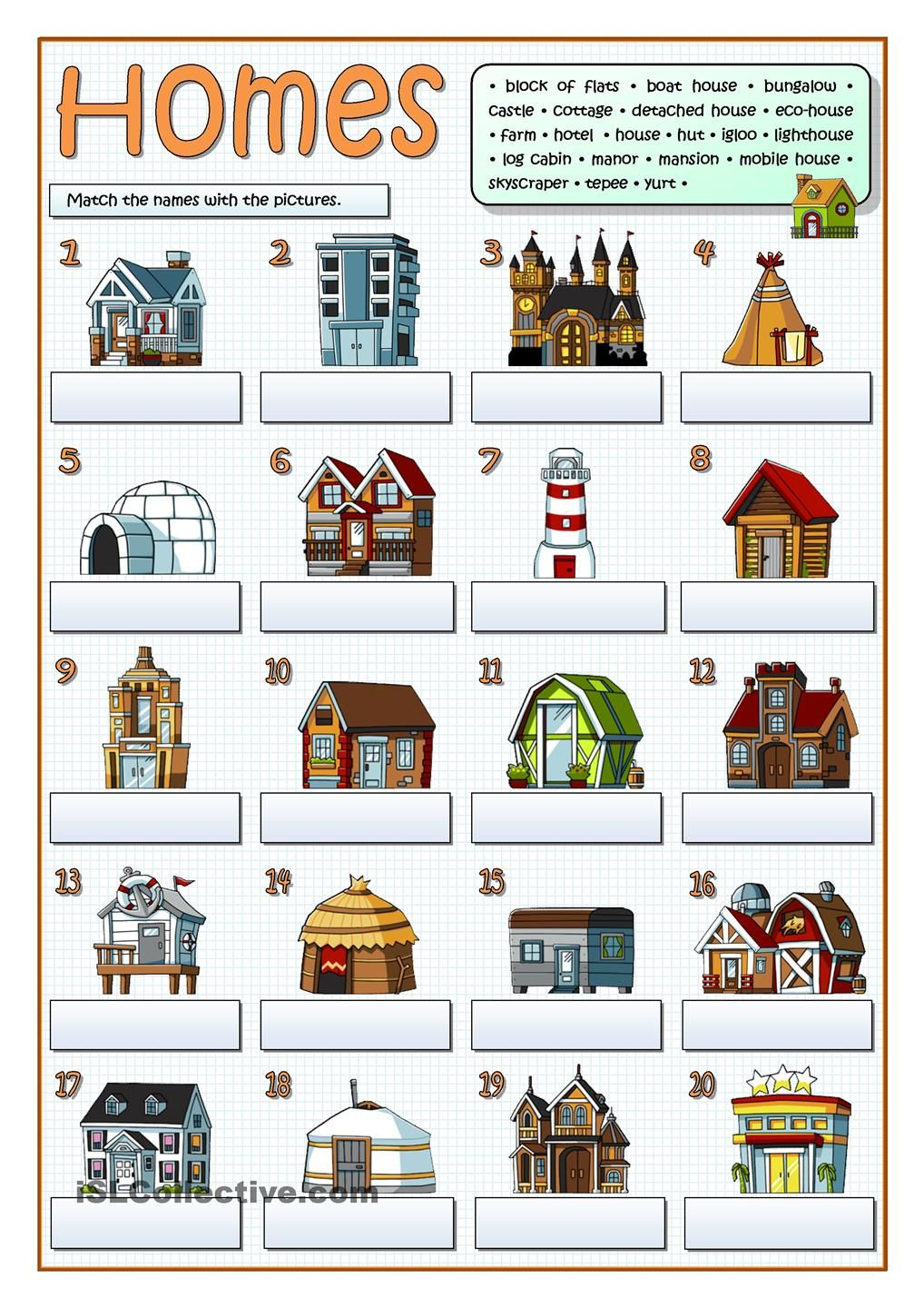 Types of homes free esl worksheets esl pinterest for List of house builders